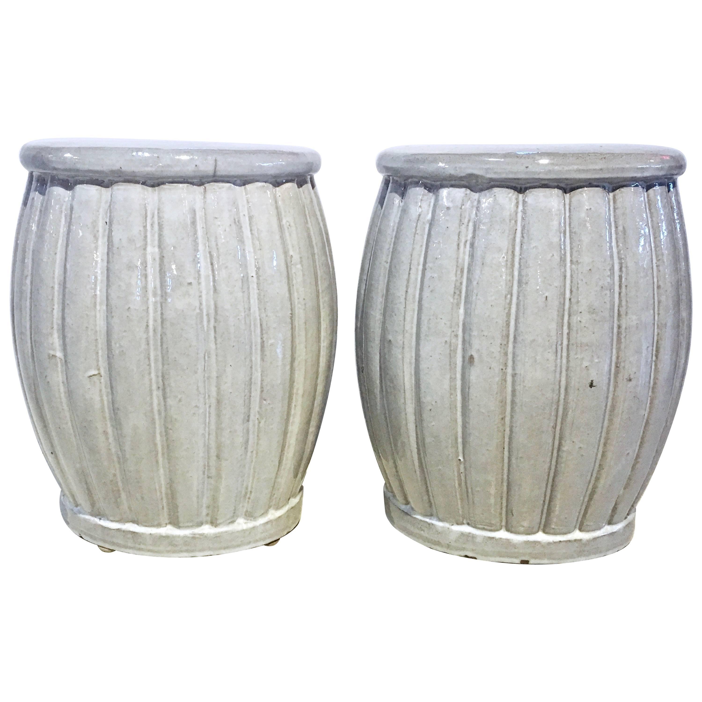 Pair Of Large Ceramic Garden Seats, Hand Thrown, Gray Blue Glaze Finish