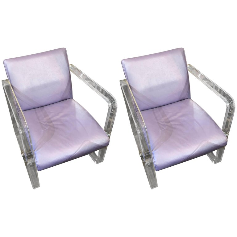 Pair of Pace Collection Lucite Armchairs, Attributed