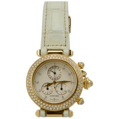 Cartier Yellow Gold Diamond Pasha Chronograph Quartz Wristwatch Ref 1354/1