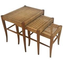 Trio of Flared Leg Nesting Tables, Woven Tops in the Manner of Robsjohn-Gibbings