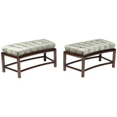 Pair of Curving Biscuit Tufted Benches
