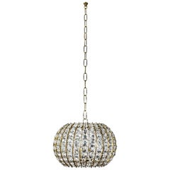 Elegant Crystal and Brass Pendant Fixture