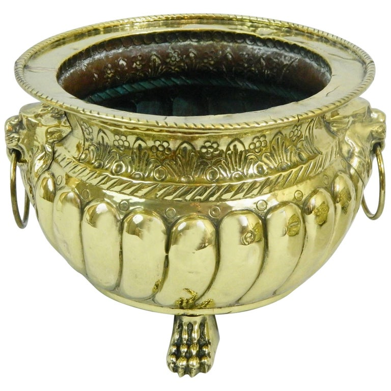 Polished Brass Jardiniere or Planter with Cast Feet, 19th Century