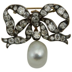 19th Century Cultured Pearl and Diamond Bow-Brooch