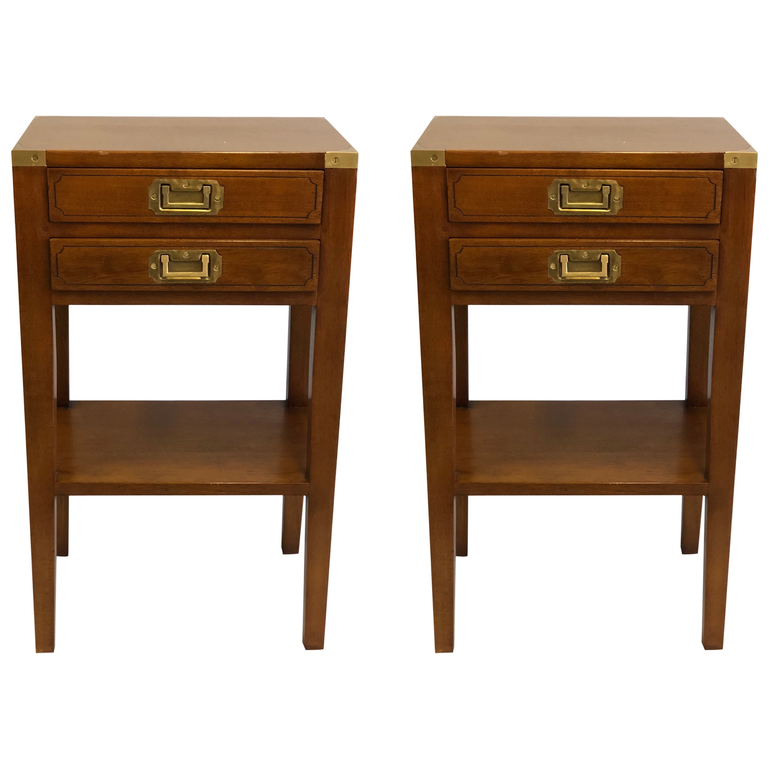 Pair French Mid-Century Modern Style Marine Nightstands / End Tables