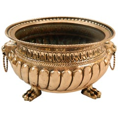 French Copper Jardiniere or Planter with Lion Handles, 19th Century