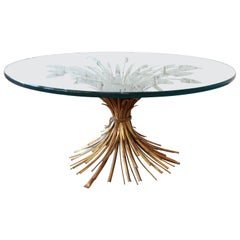 Hollywood Regency Italian Gold Sheaf of Wheat Cocktail Table