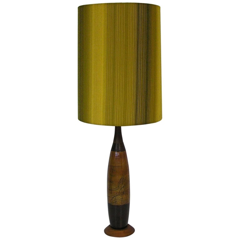 1960s Hand-Painted Ceramic & Teak Table Lamp