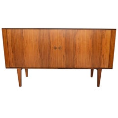 Tall Danish Modern Rosewood Tambour Credenza