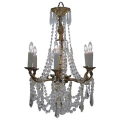 Louis XV Gilt Brass and Crystal Six-Light Chandelier, Sweden, Circa:1935
