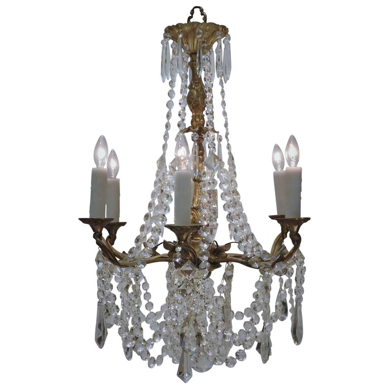 Louis XV Style Gilt Brass and Crystal Six-Light Chandelier, Sweden, Circa:1935