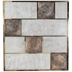 Art Wall Panel by Paul Marra in Brass, Distressed Silver Leaf, Textured Finish