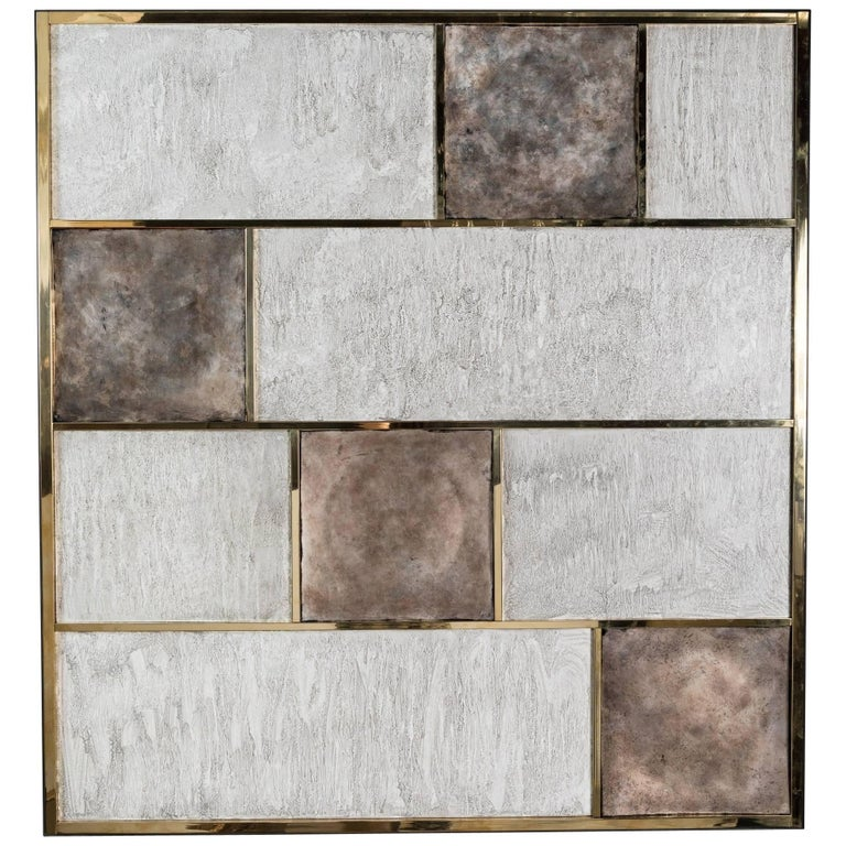 Art Wall Panel by Paul Marra in Brass, Distressed Silver Leaf, Textured Finish For Sale