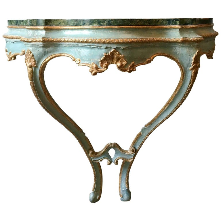 Rococo Parcel Gilt & Painted Console with Faux Marble Top