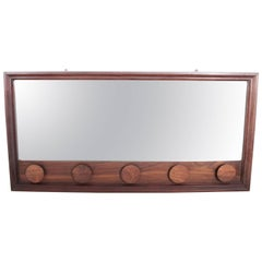 Danish Modern Solid Rosewood Beveled Mirror with Rosewood Appliques, Circa 1960