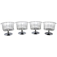 Polished Aluminium Tulip Shaped Swivel Lounge Chairs, Set of Four