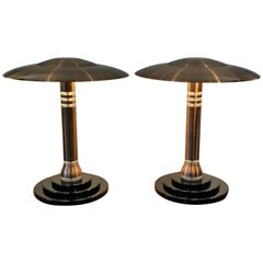 Pair Of Art Deco Copper And Lucite Table Lamps, 1980's