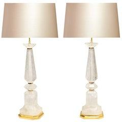 Pair of Modern Rock Crystal Quartz Lamps
