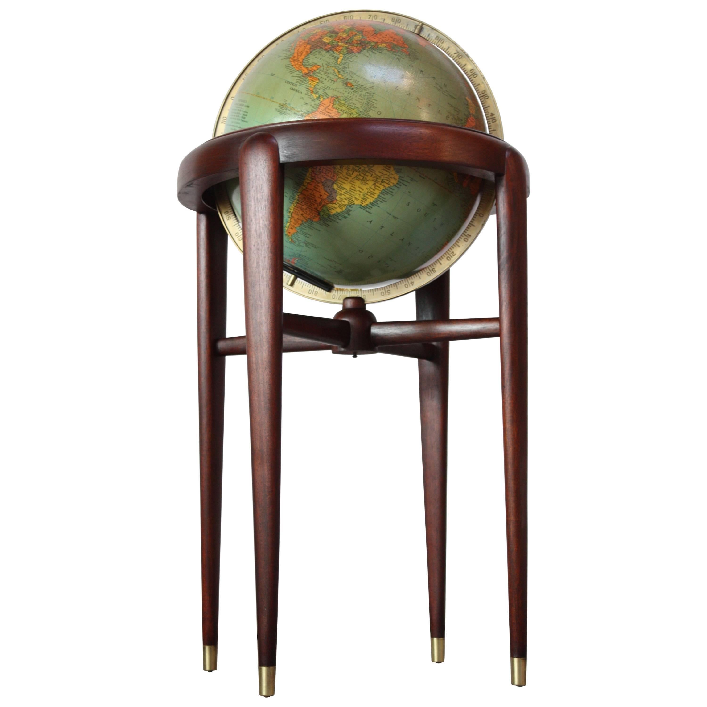 1960s Replogle Illuminated Glass Globe on Mahogany Stand