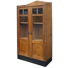 Hand-Crafted Small Art Deco Bookcase w. Beveled Glass and Inlaid Geometric Motif