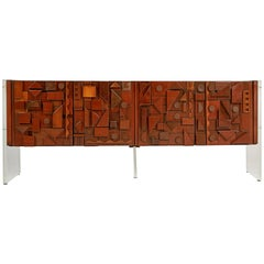 Custom Handcrafted Brutalist Credenza by Lou Ramirez