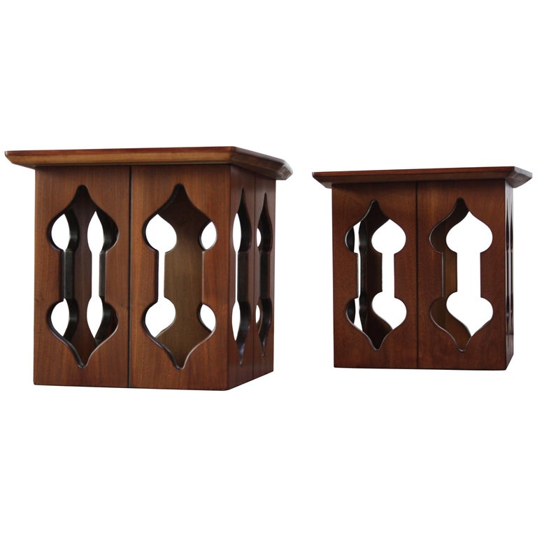 Pair of Vintage Moorish Style Walnut Side Tables with Carved Decoration