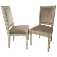 Pair of Jansen Style Parcel-Gilt and Paint Decorated Dining Chairs