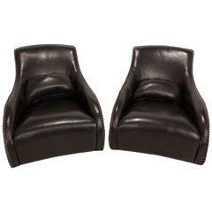 Pair of Fine Leather Rocking Chairs in the Mid-Century Modern Style