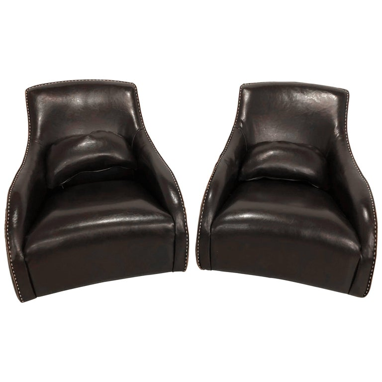 Pair of Fine Leather Rocking Chairs in the Mid-Century Modern Style For Sale