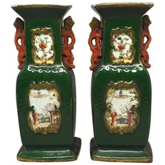Pair of Green English Vases in the Chinese Style