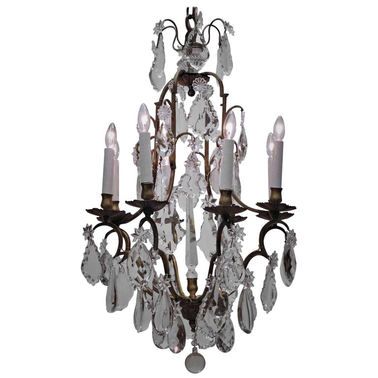 Louis XV Style Eight-Light Bronze and Crystal Chandelier, France, circa 1900