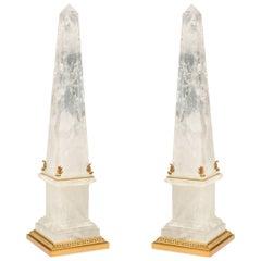 Pair of Ormolu Mounted Rock Crystal Obelisk
