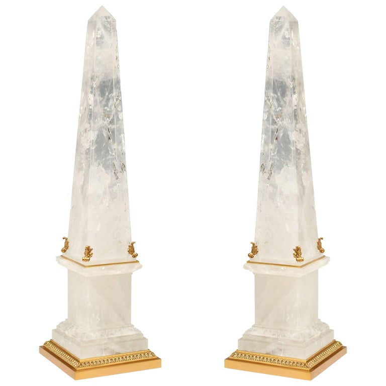 Pair of Ormolu Mounted Rock Crystal Obelisk  For Sale