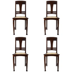 Set of Four German Art Nouveau Dining Chairs