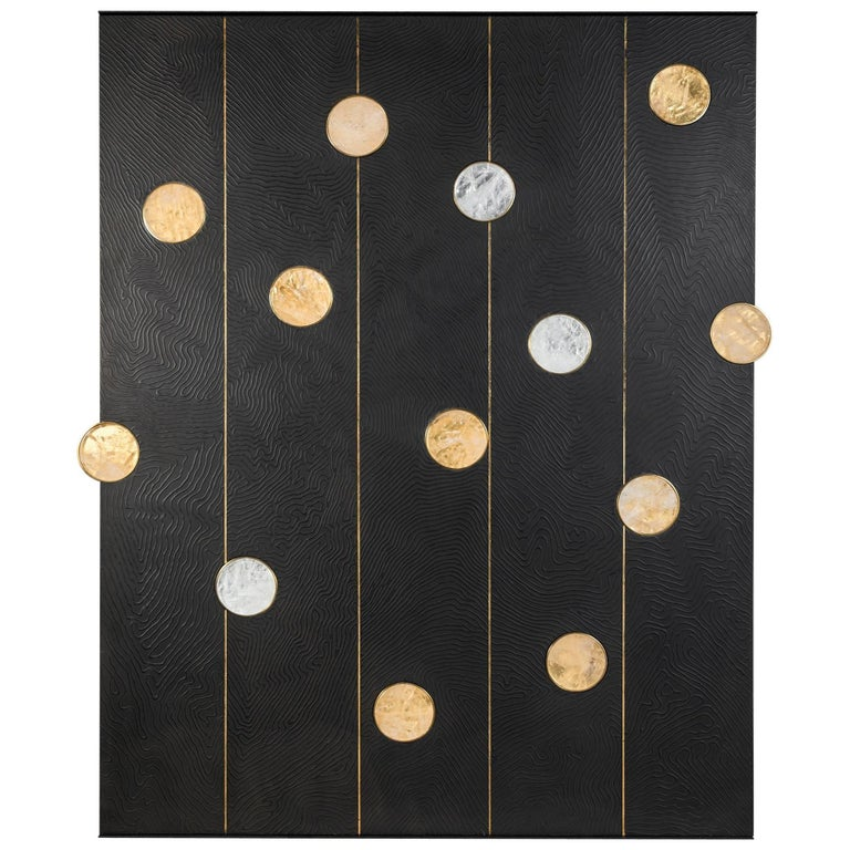 Art Wall Panel by Paul Marra with Texture, Brass, Hand-Cut Rock Crystal For Sale