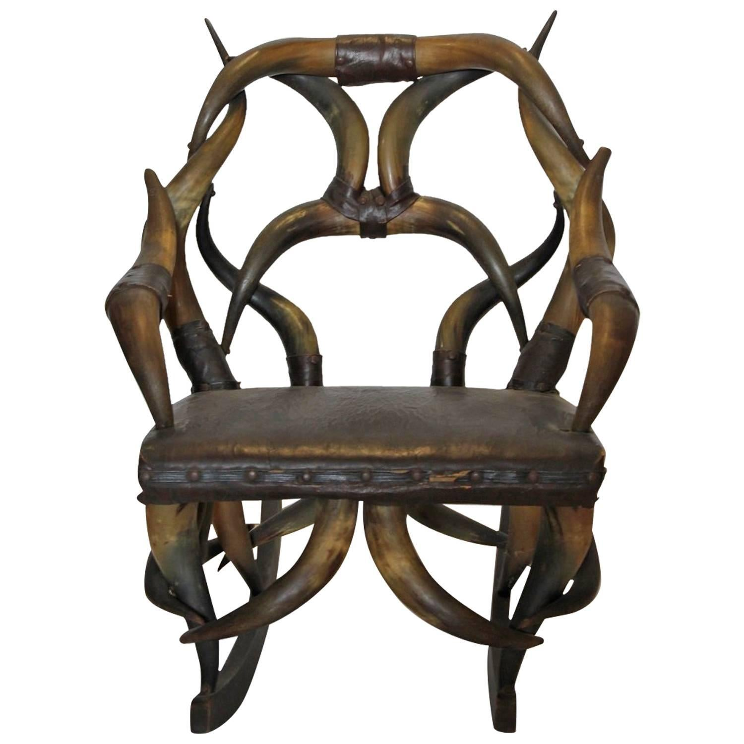 Antique Horn And Leather Rocking Chair For Sale