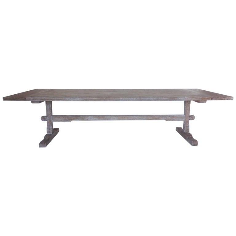 Custom Oak Classic Trestle Table For Sale