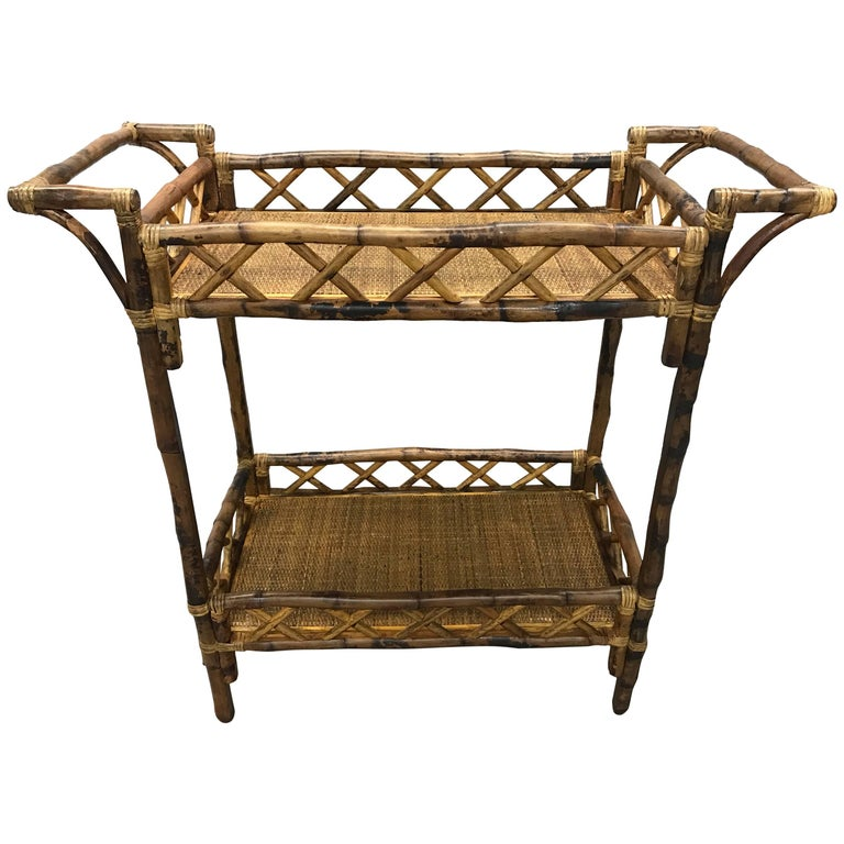 Vintage Bamboo Rattan Bar Liquor Bar Cart For Sale At 1stdibs