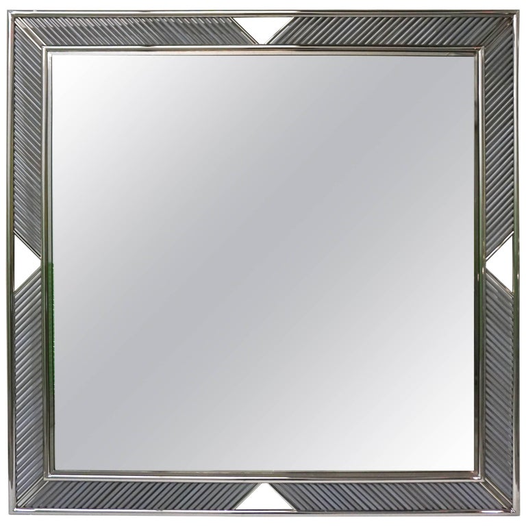 Italian Modern Nickel Mirror with Pearl Gray Murano Glass Baguette Fretwork