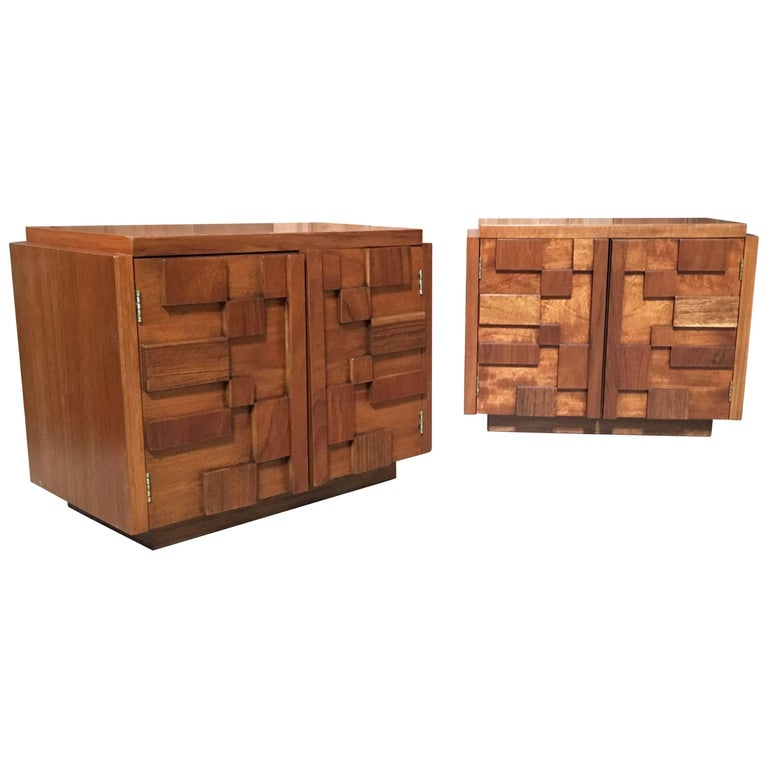 Pair of Brutalist Nightstands