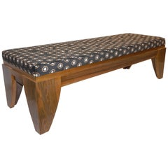 Smania 1970s Vintage Italian Brown and White Modern Design Bench in Solid Walnut