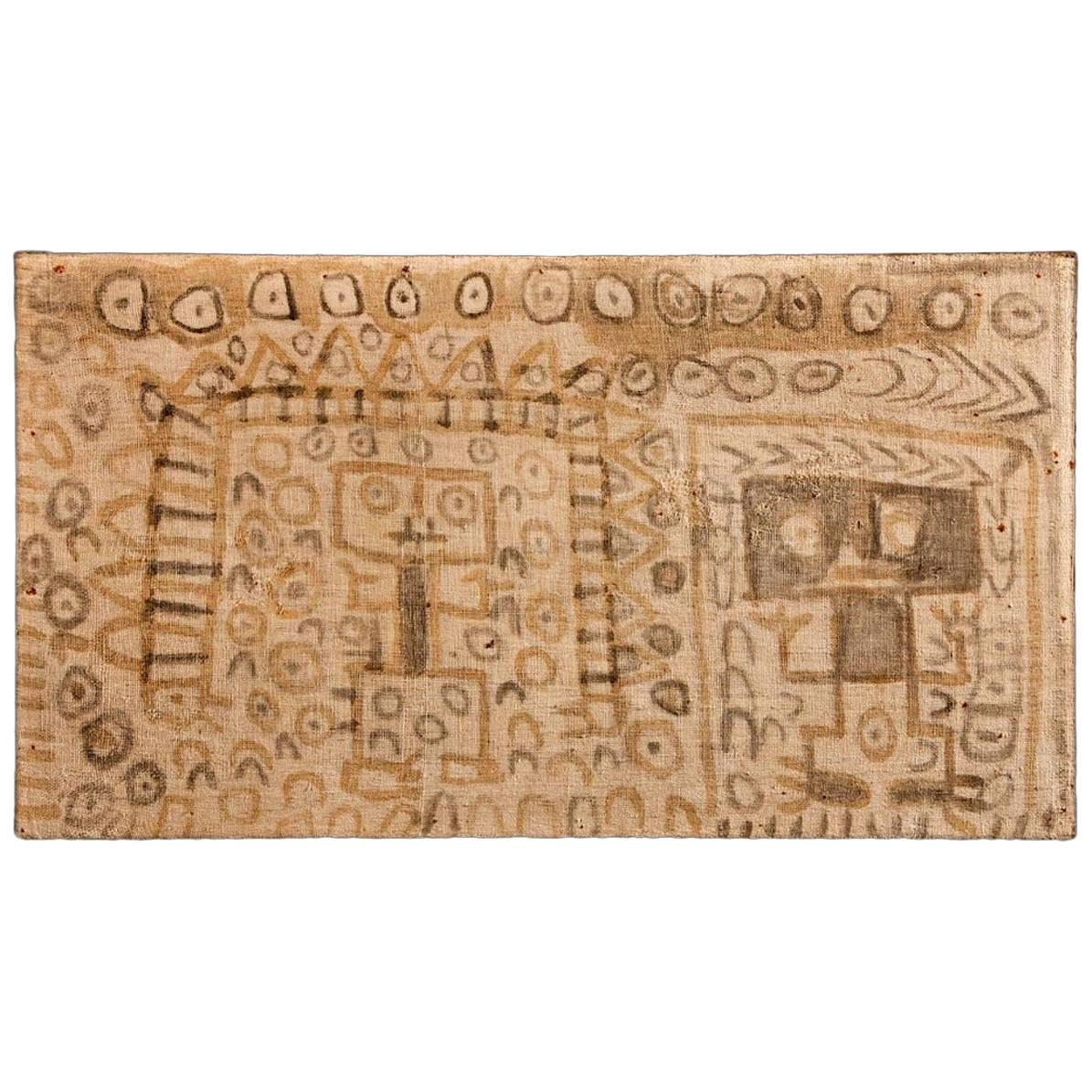 Pre-Columbian Chancay Painted Panel with Two Figures Side by Side