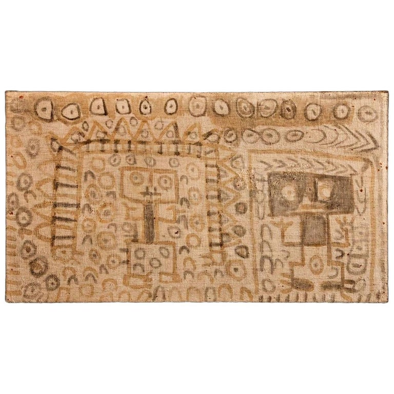 Pre-Columbian Chancay Painted Panel with Two Figures Side by Side For Sale