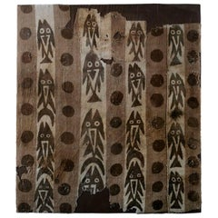 Pre-Columbian Chancay Painted Textile - Brown Fishes and Dots On Vertical Bands