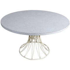 Mid-Century Modern Round Wrought Iron Patio Dining Table in Arturo Pani Style