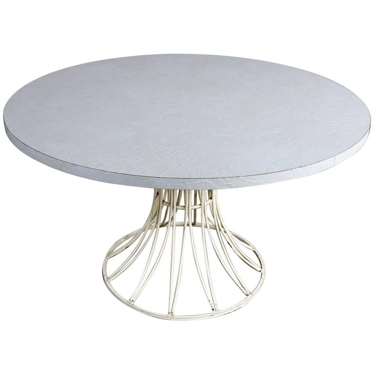 Mid-Century Modern Round Wrought Iron Patio Dining Table in Arturo Pani Style