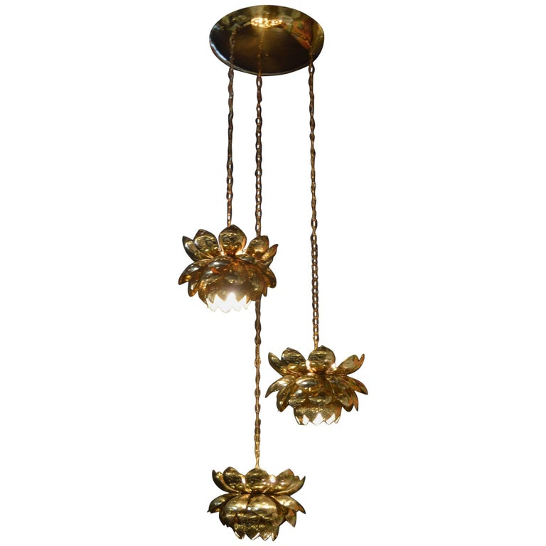 Brass Lotus Blossoms Pendant Chandelier