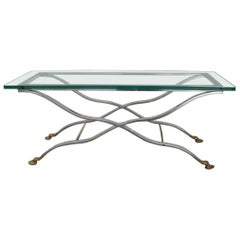 Maison Jansen Brass Chrome Coffee Table Hoofed Padded Feet
