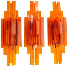 Trio of Danish Space Age Orange Acrylic Wall Lights by Claus Bolby, 1975
