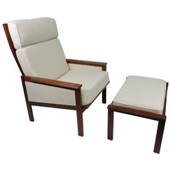 Illum Wikkelso Eilersen Danish Modern Capella High Back Lounge Chair and Ottoman